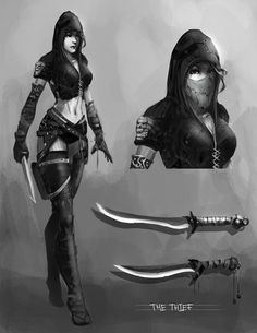 The Thief by Baranha female assassin rogue dagger knife armor clothes clothing fashion player character npc | Create your own roleplaying game material w/ RPG Bard: www.rpgbard.com | Writing inspiration for Dungeons and Dragons DND D&D Pathfinder PFRPG Warhammer 40k Star Wars Shadowrun Call of Cthulhu Lord of the Rings LoTR + d20 fantasy science fiction scifi horror design | Not Trusty Sword art: click artwork for source