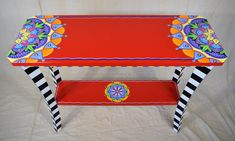 Hand Painted Furniture | Custom Hand Painted Furniture | Colorful Hand Painted Furniture | Hand Painted Table | Made to order by LisaFrick on Etsy