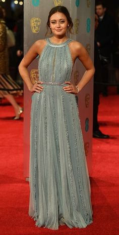 British actress Ella Purnell poses upon arrival at the BAFTA British Academy Film Awards at the Royal Albert Hall in London on February 12, 2017. / AFP / Justin TALLIS