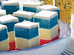 """""""I wanted to play into the patriotic colors of the Fourth of July holiday, and layered cakes are a great way to make a splash. Plus, kids..."""