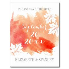 Modern watercolor coral wedding Save the Date Postcards.