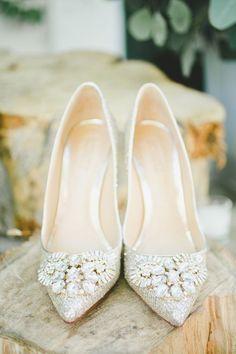 embellished wedding shoes - photo by Onelove Photography http://ruffledblog.com/romantic-old-souls-wedding