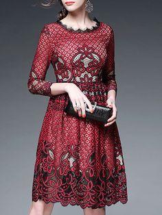Pierced Lace Cotton-blend Midi Dress