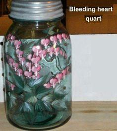 Vintage Mason Jar Hand-painted Bleeding Hearts by artist Lisa Hayward of Our House Crafts. $22.95, via Etsy.