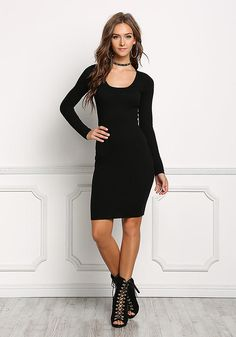 Black Crossover Cut Out Bodycon Dress - Dresses