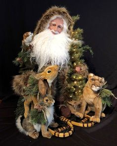 You'll fall in love with these one-of-a-kind, collectable handcrafted Santa figures, with joyful, lifelike faces. Each Santa is signed by the artist. Father Christmas, Christmas Art, Vintage Christmas, Christmas Ideas, Homemade Dolls, Stone Soup, Santa Doll, Comfort And Joy, Vintage Santas