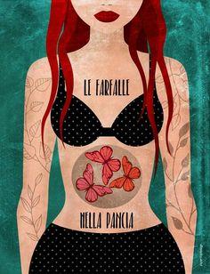 Le farfalle nella pancia · Piperitadesign #illustrazione #butterfly #farfalle Powerful Women, Digital Illustration, Decoupage, Valentino, My Arts, Collage, Portraits, Posters, Paintings
