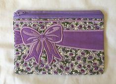 Bow Applique Zipper Pouch Purple Fabric, Cotton Quilting Fabric, Applique Designs, Zipper Pouch, School Bags, Pouches, Printed Cotton, Etsy Store, Decorative Boxes