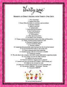 """31 Reasons to Join Thirty-One! Visit www.mythirtyone.com/emmarosario and click on """"Join My Team"""" for more info."""