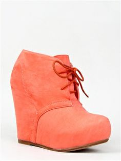 Bamboo DEBRAH-01N Lace Up Wedge Ankle Bootie   Shop Shoes