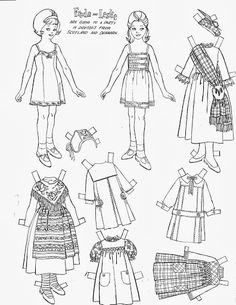 FREDA and LESLIE are going to a party wearing dresses from Scotland Denmark Freda Friendly Colouring Pages, Adult Coloring Pages, Coloring Books, Paper Toys, Paper Crafts, Diy Crafts, Yarn Dolls, Christmas Stencils, Storybook Characters