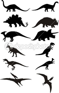Dino silhouettes for banner, photo prop, add to party hats, etc