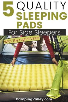 Can you imagine caming without comfortable bedding? Camping sleeping pads are wonderful camping equipment for comfort and sleeping cozy. If you are looking for sleeping bads for camping I suggest that you take a look at the best 5 sleeping pads for side sleepers that are thick and come with the high R-value. #campingpads #sidesleepers #campingbedding #sleepingpads #outdoorpads #Rvalue #outdoorsleep #foamsleepingpad #selfinflatablesleepingpad #airpad #maximumcomfort #goodsleep #warm… Camping Heater, Camping Storage, Camping Pillows, Camping Chairs, Best Hiking Gear, Camping Flashlights, Virtual Travel, Go Outdoors, Camping Equipment