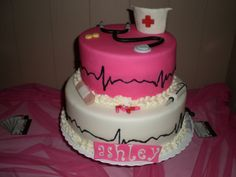 Nurse cake- ah i want this when i graduate just not the pink...