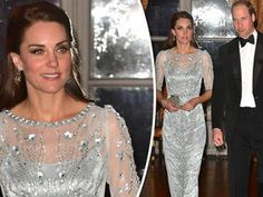 The Duchess of Cambridge dazzled in a glamorous floor length gown at an exclusive event in France this evening.