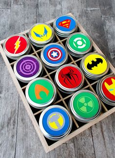 Free Printables for Mason Jars - Superhero Gift With Free Mason Jar Lid Printables - Best Ideas for Tags and Printable Clip Art for Fun Mason Jar Gifts and Organization Diy Father's Day Gifts Easy, Diy Gifts For Dad, Father's Day Diy, Fathers Day Gifts, Boy Gifts, Daddy Gifts, Mason Jar Gifts, Mason Jar Diy, Father's Day Printable