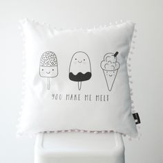 This monochrome Ice Cream scatter cushion is perfect for a kids bedroom. Cushion cover size: x (Inner not included.) Printed onto a …