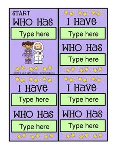 Creating I have, Who has cards has never been easier! With this Microsoft Word template, simply click inside the text boxes to add your words, defi...
