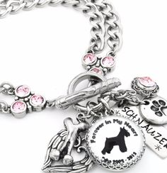 This beautiful Personalized Dog Breed Bracelet is created with a dog Silhouette of your dog's breed, and includes their name and year they were born on the personalized glass charm. You can also perso
