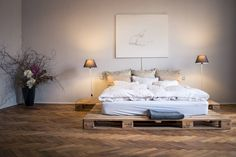 Pallet bed made by IKEA. Stylish and romantic AirBNB place at Prague. https://www.airbnb.com/rooms/17469021