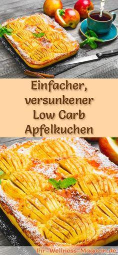 Rezept für einen Versunkenen Low Carb Apfelkuchen: Der kohlenhydratarme, kalorienreduzierte Kuchen wird ohne Zucker und Getreidemehl zubereitet ...