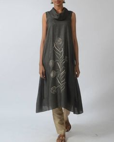 Shop online Grey tussar tunic with cowl neckline Grey tussar tunic with cowl neck and embroidered front The Secret Label, Sari Fabric, Cowl Neck, High Neck Dress, Tunic, Neckline, Grey, Clothes, Shopping