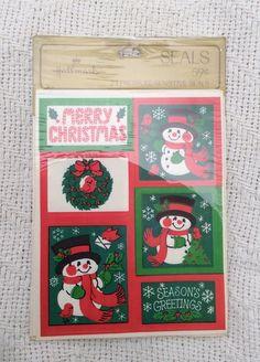 Vintage Hallmark Stickers Seals Christmas Holidays Snowman Wreath Seasons Greeti  | eBay
