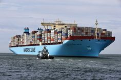 The MV Maersk Mc-Kinney Moller, the world's biggest container ship, arrives at the harbour of Rotterdam.  http://setcomcorp.com/marine.html