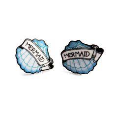 Mermaid Stud Earrings: illustrated blue mermaid shell charm earrings for seaside & rockabilly lovers, made from acrylic.