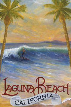 Laguna Beach - California travel poster / print - Surfer, Loren Shaw Hellige  surf art
