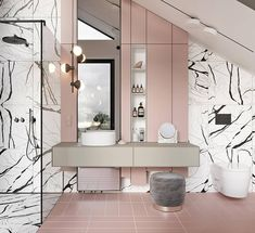 The powder pink tiles and wall accents of the vanity are the complete opposite of the intense white and black tiles that surround it. The bathroom design is whimsical and fun, and the furnishings mirror that energy.