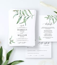 Wedding Invitation Suite with Hand-Painted Watercolor Greenery, Details Card, RSVP Card, Envelope Li Postcard Wedding Invitation, Custom Wedding Invitations, Invitation Kits, Wedding Stationery, Invites, Wedding Details Card, Wedding Menu Cards, Seating Chart Wedding Template, Honeymoon Fund
