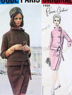 1960s Pierre Cardin Elegant Suit Pattern Side Button Feature, Stand Up Collar Chic Design Vogue Paris Original 1434 Vintage Sewing Pattern F...