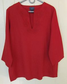 Chaps Classics Women's Size XL Red Linen Embroidered Top 3/4 Sleeve EUC  #Chaps #Tunic