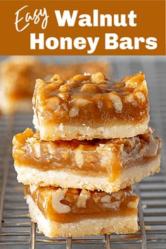 A layer of buttery shortbread topped with a gooey mixture of honey and walnuts these bars are easier to make than you'd think and very delicious! It's a great recipe for the holiday season and as a finger dessert for parties. Walnut Recipes, Honey Recipes, Sweet Recipes, Baking Recipes, Finger Desserts, Sweet Desserts, Delicious Desserts, Desserts With Honey, Recipes With Walnuts