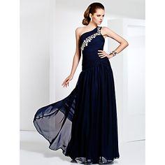 Prom/Military Ball/Formal Evening Dress Sheath/Column One Shoulder Floor-length Chiffon Dress – USD $ 119.99