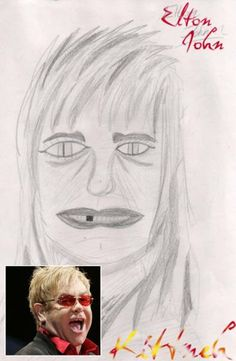 Elton John as some sort of weird, reptilian rocker: The 30 Most Horrifying Fan Tributes Of All Time Bad Fan Art, Bad Art, Worst Celebrities, Unusual News, Bad Drawings, Creepy Guy, People Dont Understand, Real Monsters, Celebrity Drawings