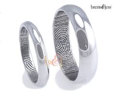 3mm/6mm Set Sterling Silver Traditional Half Round Fingerprint Rings with High Polish Finish...in palladium or silve