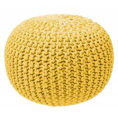 Pouf tricot jaune. En coton et polyester, 75€