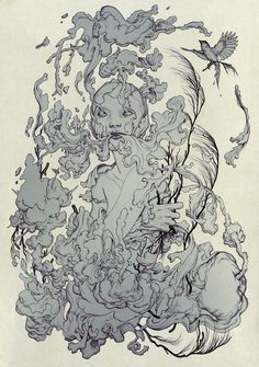 Cloud, 2014 by James Jean. Ink and Digital