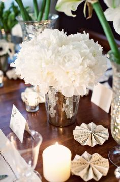 vase, candles, silver, flowers, flower, winter, decor, gold, decorations, ivory, table decorations, white peonies, floral, inspiration board, bouquet, peony, miscellaneous, place setting, real
