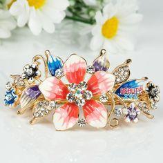 High Quality Flower Gold Tone Metal Fashion Crystal Hair Claw Clip Barrette