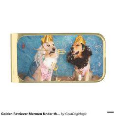 Golden Retriever Mermen Under the Sea Gold Finish Money Clip