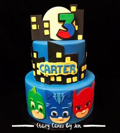 PJ Mask Cake/ PJ Mask/ PJ Mask Birthday Cake/ Fondant Cakes/ Fondant Work/ 2 Tier cake/ Birthday cake/ boy birthday cake/ All Edible Birthday Cake Fondant, Pj Masks Birthday Cake, 1st Birthday Party Themes, Fondant Cakes, 3rd Birthday, Crazy Cakes, 2 Tier Cake, Tiered Cakes, Pj Max