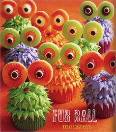 Fur Balls & String Monster Cupcakes
