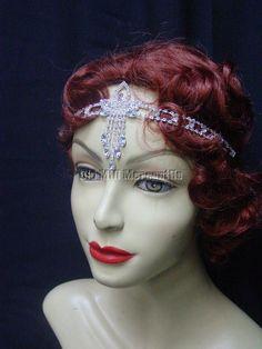 Flapper Gatsby Downton 1920's style Rhinestone headband elastic back #Unbranded