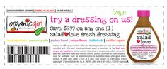 FREE Organic Girl Salad Dressing (take survey, get $6.99 free product coupon) http://www.freebiequeen13.net/free-samples.html