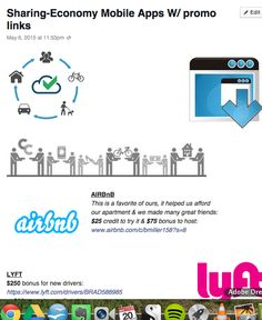 Promo-codes for Sharing economy apps like Uber, Lyft, AirBnB etc...