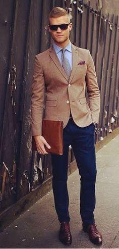 Navy Slacks + Khaki Blazer = Great Suit Combo
