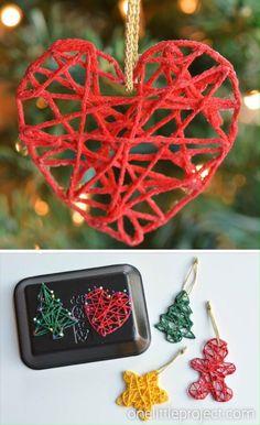 Wrapped Yarn Ornaments
